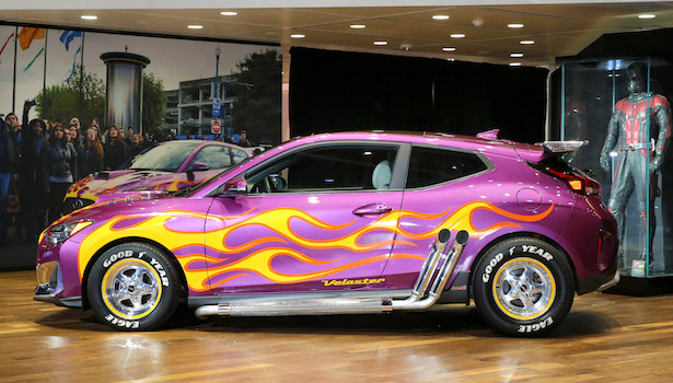 Purple Veloster with flames on side